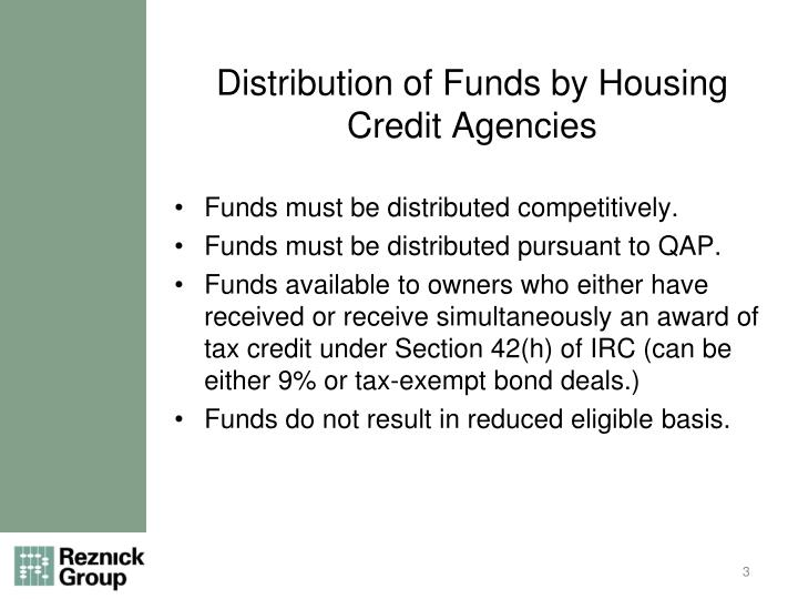 Distribution of Funds by Housing Credit Agencies
