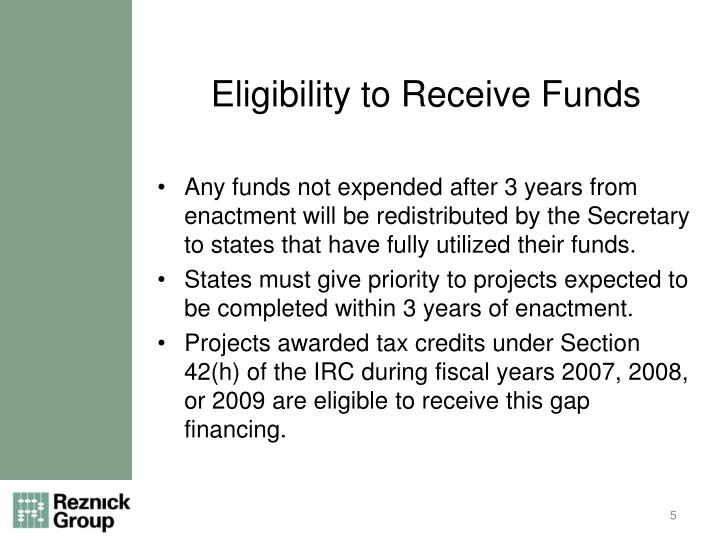 Eligibility to Receive Funds