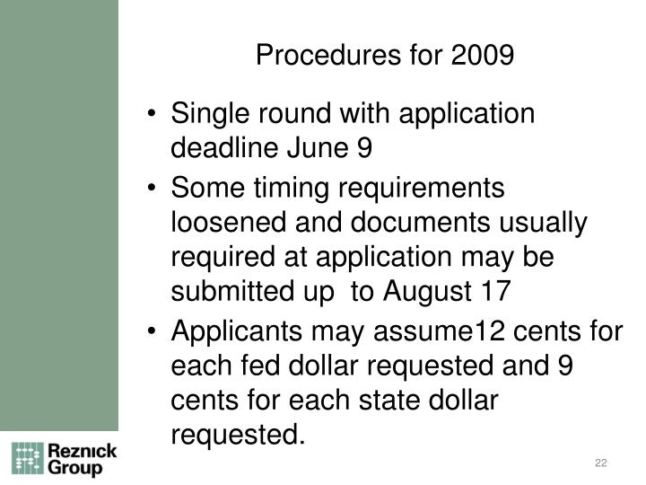 Procedures for 2009