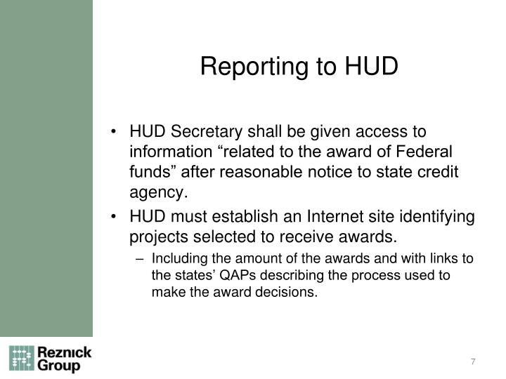 Reporting to HUD