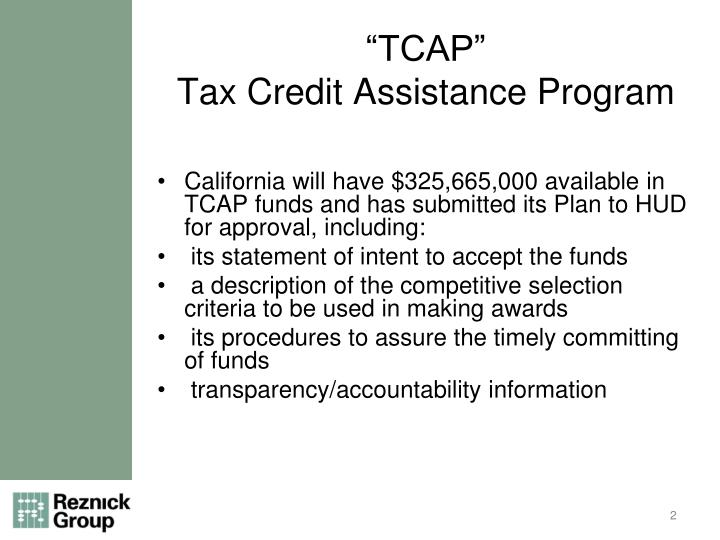 Tcap tax credit assistance program