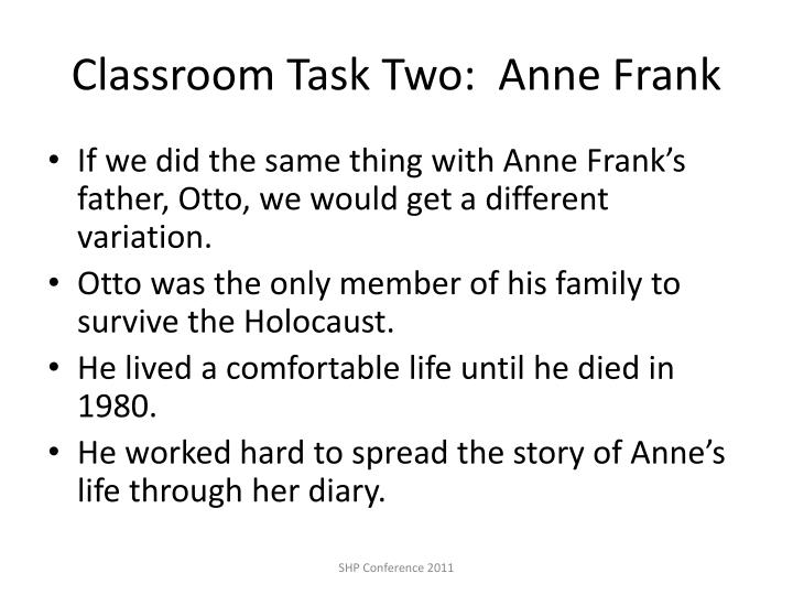 Classroom Task Two:  Anne Frank