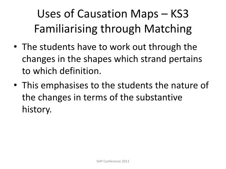 Uses of Causation Maps – KS3 Familiarising through Matching