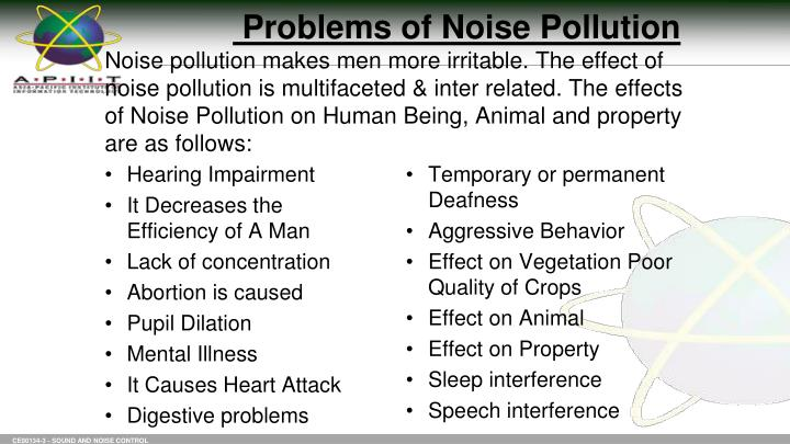 Problems of Noise Pollution
