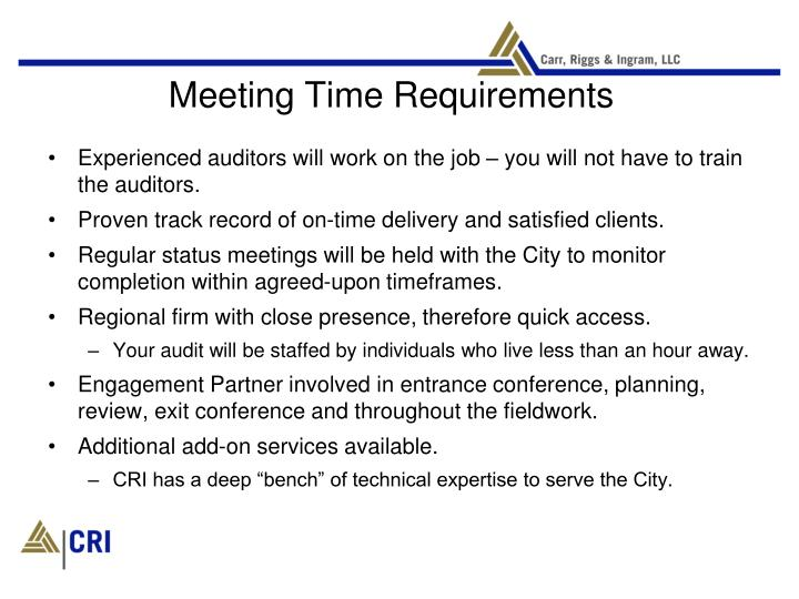 Meeting Time Requirements