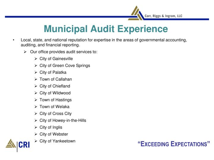 Municipal Audit Experience