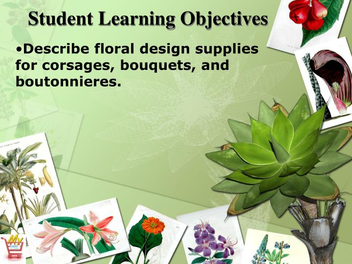 Describe floral design supplies for corsages, bouquets, and boutonnieres.
