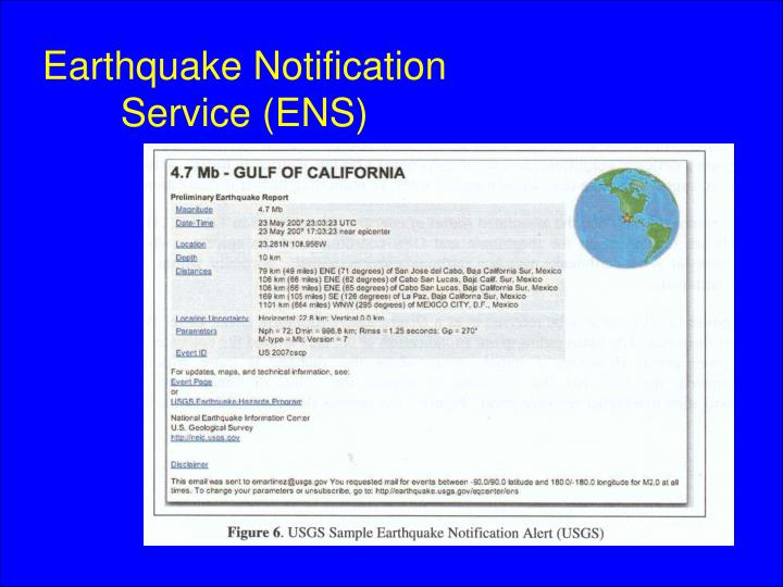 Earthquake Notification Service (ENS)