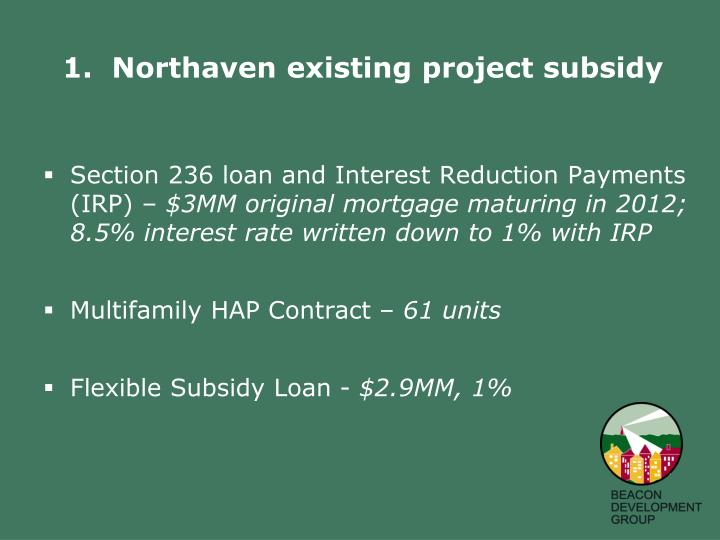 Section 236 loan and Interest Reduction Payments (IRP) –