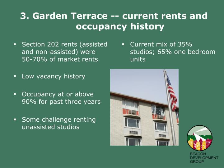 3. Garden Terrace -- current rents and occupancy history