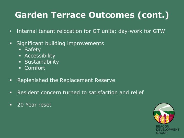 Garden Terrace Outcomes (cont.)