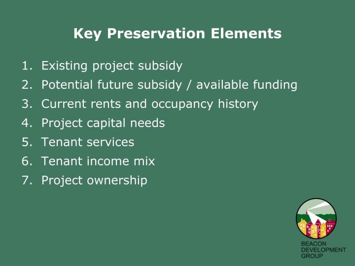 Existing project subsidy