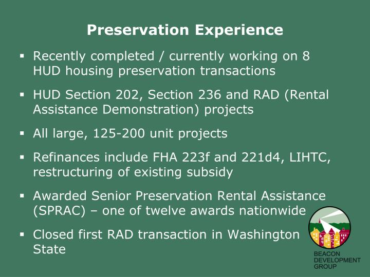 Preservation Experience