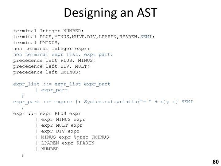 Designing an AST