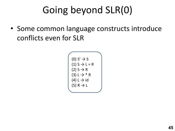Going beyond SLR(0)