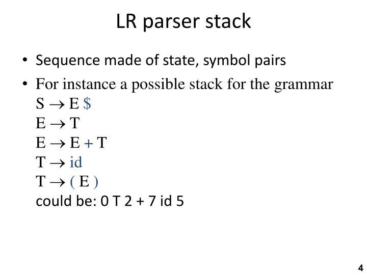 LR parser stack