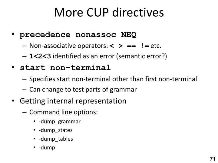 More CUP directives