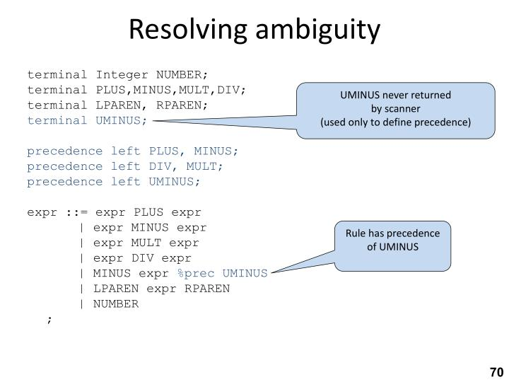 Resolving ambiguity