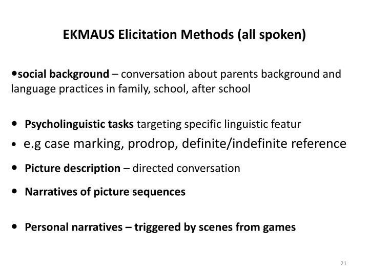 EKMAUS Elicitation Methods (all spoken)