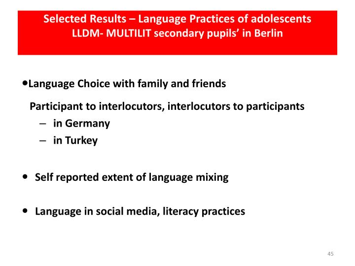 Selected Results – Language Practices of adolescents