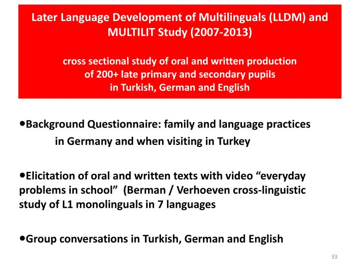 Later Language Development of