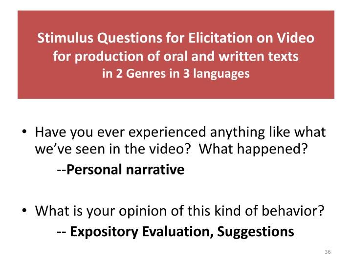 Stimulus Questions for Elicitation on Video