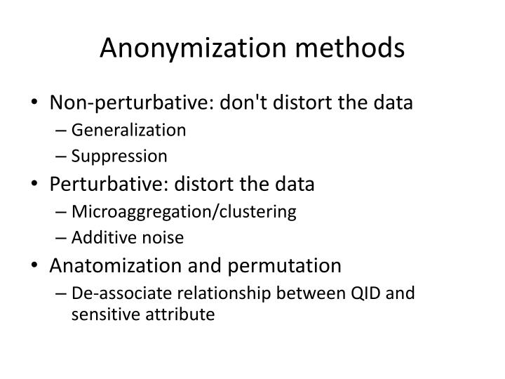 Anonymization methods