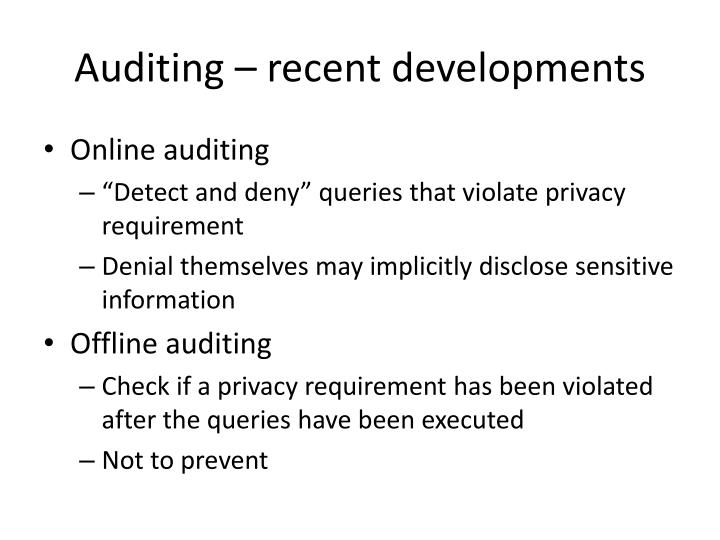Auditing – recent developments
