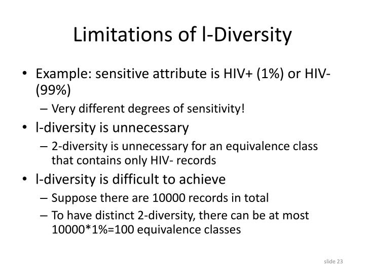 Limitations of l-Diversity