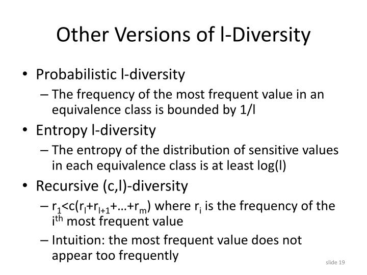 Other Versions of l-Diversity