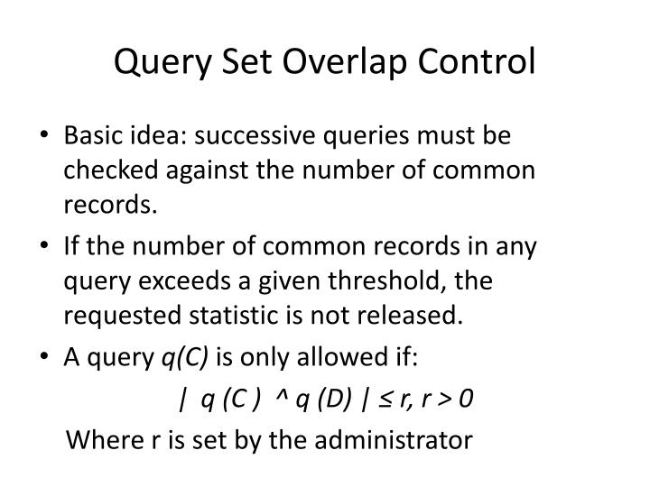 Query Set Overlap Control