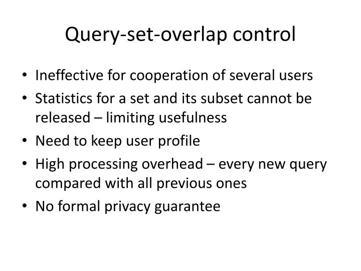 Query-set-overlap control