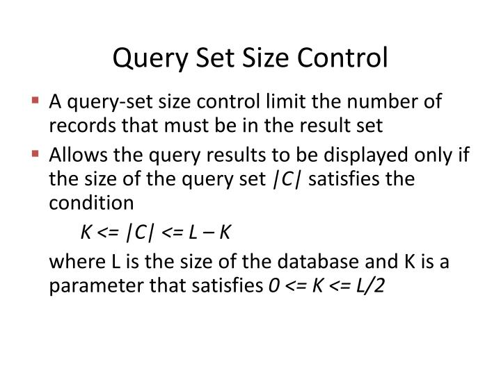 Query Set Size Control
