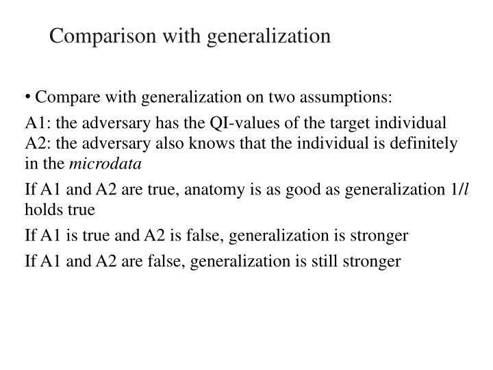 Comparison with generalization