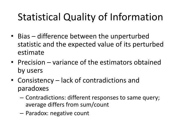 Statistical Quality of Information