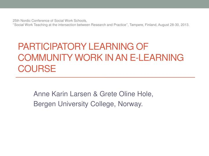 Participatory learning of community work in an e learning course