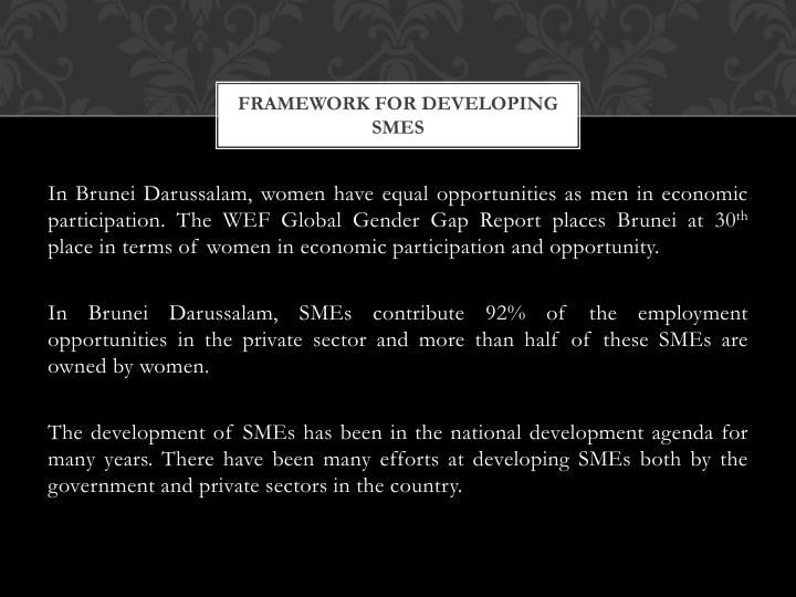 Framework for developing smes