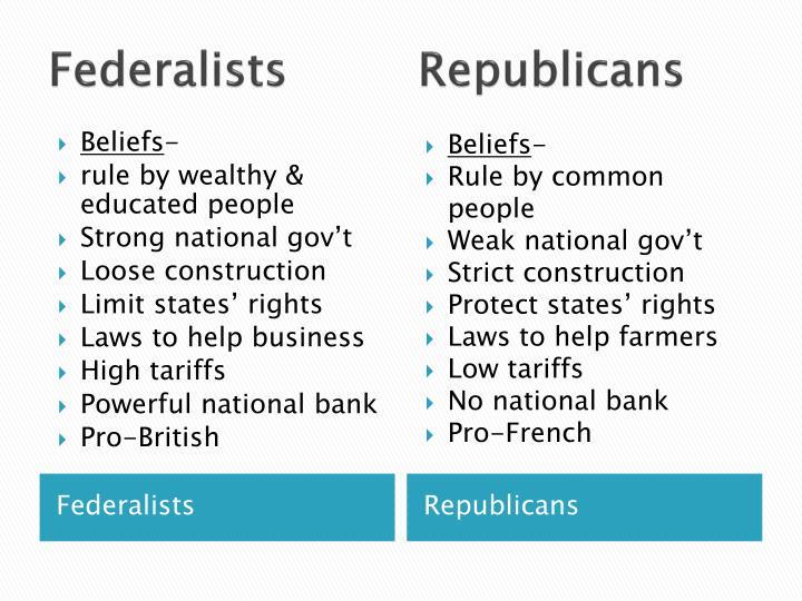 Federalists         Republicans