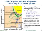 after 60 years mfe has progressed 10 of way to dt fusion ignition