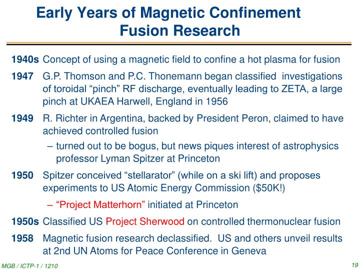 Early Years of Magnetic Confinement