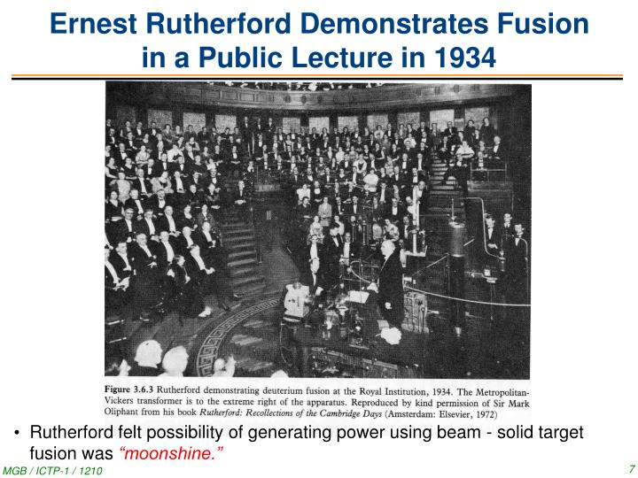 Ernest Rutherford Demonstrates Fusion
