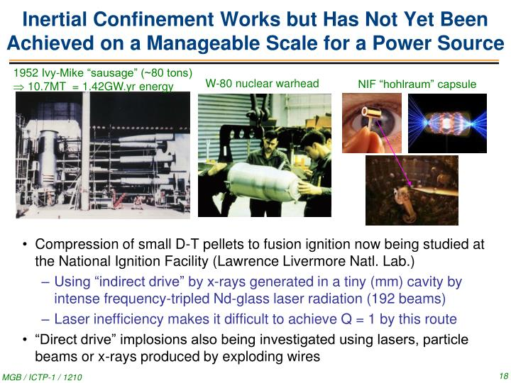 Inertial Confinement Works but Has Not Yet Been Achieved on a Manageable Scale for a Power Source