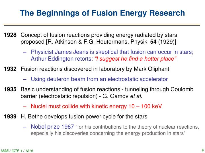 The Beginnings of Fusion Energy Research