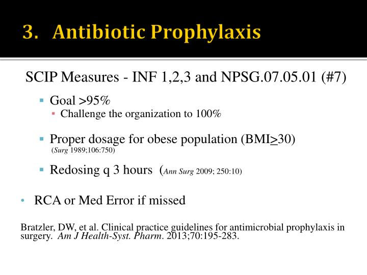 3.   Antibiotic Prophylaxis