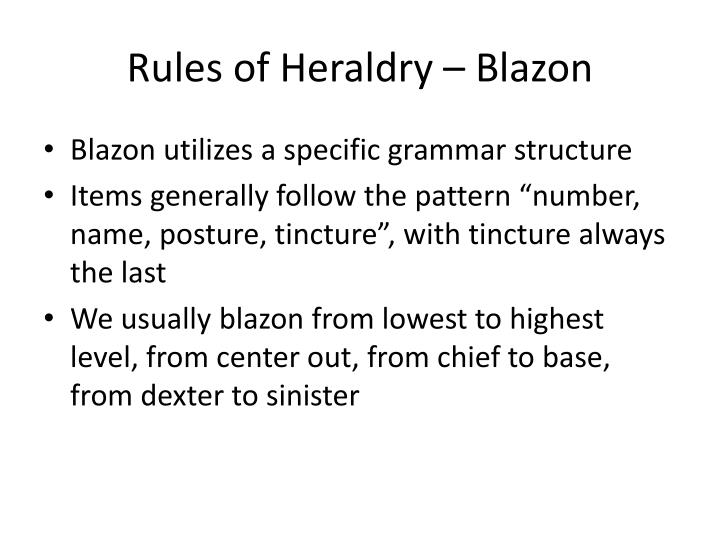 Rules of Heraldry – Blazon