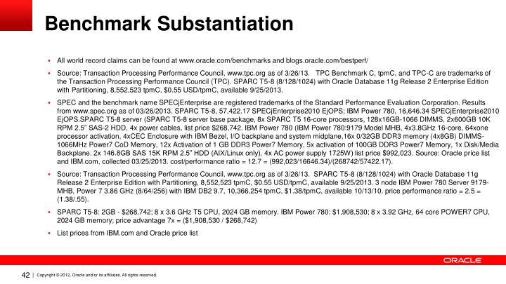Benchmark Substantiation