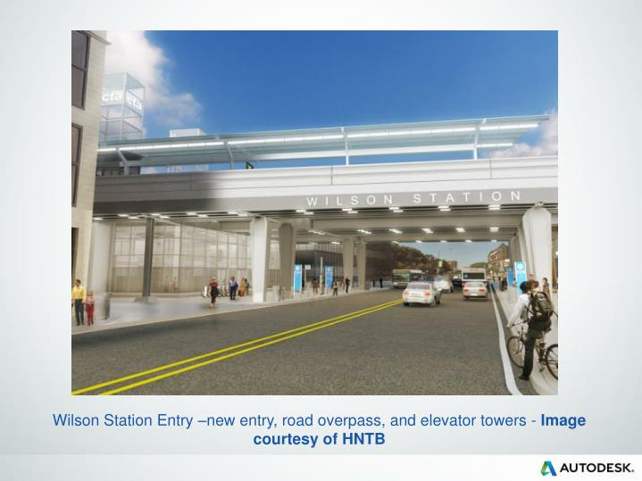 Wilson Station Entry –new entry, road overpass, and elevator towers -