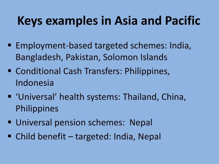 Keys examples in Asia and Pacific