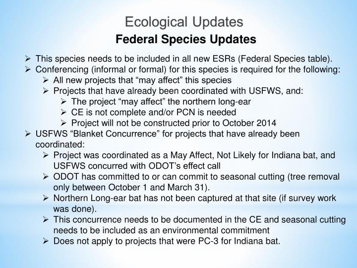 Federal Species Updates