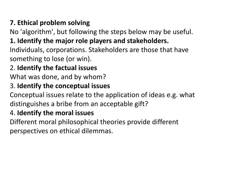 7. Ethical problem solving
